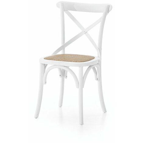 MOBILI 2G - SET 2 Sedie Cross Bistrot shabby Vintage Bianco Olmo seduta rivestita Rattan naturale modello 6086