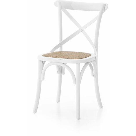 MOBILI 2G - SET 4 Sedia Cross Bistrot shabby Vintage Bianco Olmo seduta rivestita Rattan naturale Modello X4 86ZAN
