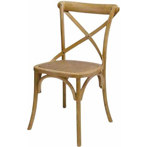 MOBILI 2G - SET 4 Sedie Cross Bistrot shabby vintage legno Olmo seduta rivestita Rattan naturale