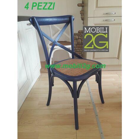 MOBILI 2G - SET 4 Sedie in legno colorato laccato blù arredamento shabby vintage classico