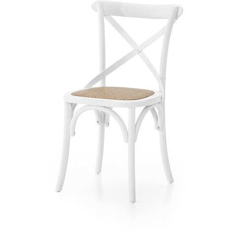 MOBILI 2G - SET 6 Sedia Cross Bistrot shabby Vintage Bianco Olmo seduta rivestita Rattan naturale Modello X6 608ZAN
