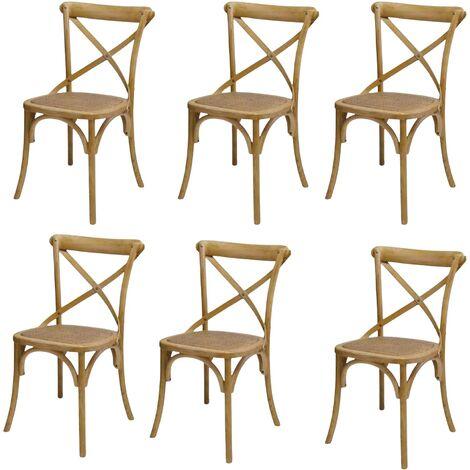 MOBILI 2G - SET 6 Sedie Cross Bistrot shabby vintage legno Olmo seduta rivestita Rattan naturale