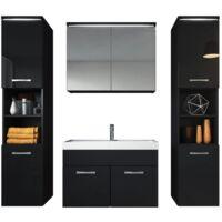 Mobili da bagno Paso XL 80cm, nero lucido, armadio mobiletto lavabo Mobili Armadietto