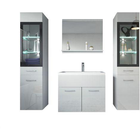Mobili da bagno Rio XL 60cm, bianco Lucido, armadio mobiletto lavabo ...