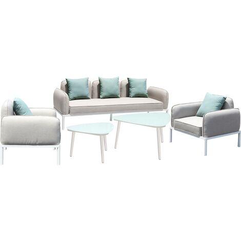 Mobili da giardino in tessuto Sevilla - 1 divano a tre posti + 1 divano a due posti + 2 poltrone + 2 tavolini - Grigio
