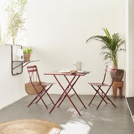 Mobiliario de jardín plegable para bistró - Emilia square duck blue - Mesa cuadrada 70x70cm con dos sillas plegables, acero pintado en polvo - Azul