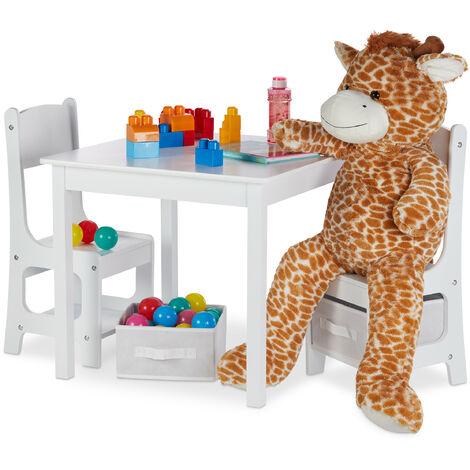 Mobiliario infantil, Dos sillas y una mesa, Dos cestas de almacenaje, Muebles para niños, MDF Madera, Blanco
