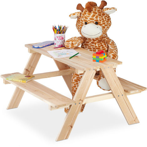 Mobiliario infantil para jardín, Mesa de pícnic de madera, 50 x 90 x 78 cm, Marrón