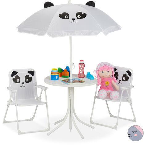Mobiliario infantil para jardín, Sombrilla, Sillas plegables, Mesa para niños, 4 Uds., Panda, Blanco