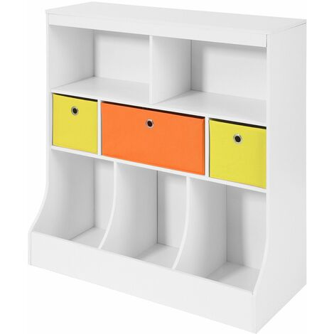 60 x 61,5 x 28,5 cm Multi-Color Librer/ía Infantil MDF+Poli/éster Mueble de almacenaje de Juguetes Relaxdays