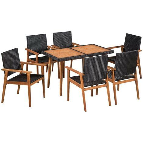 Mobilier à dîner de jardin Salon de jardin 7pcs Résine tressée Noir et marron