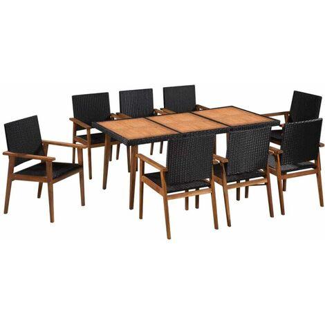 Mobilier à dîner de jardin Salon de jardin 9pcs Résine tressée Noir et marron