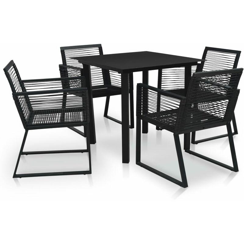 Mobilier à dîner d'extérieur 5 pcs Rotin PVC Noir