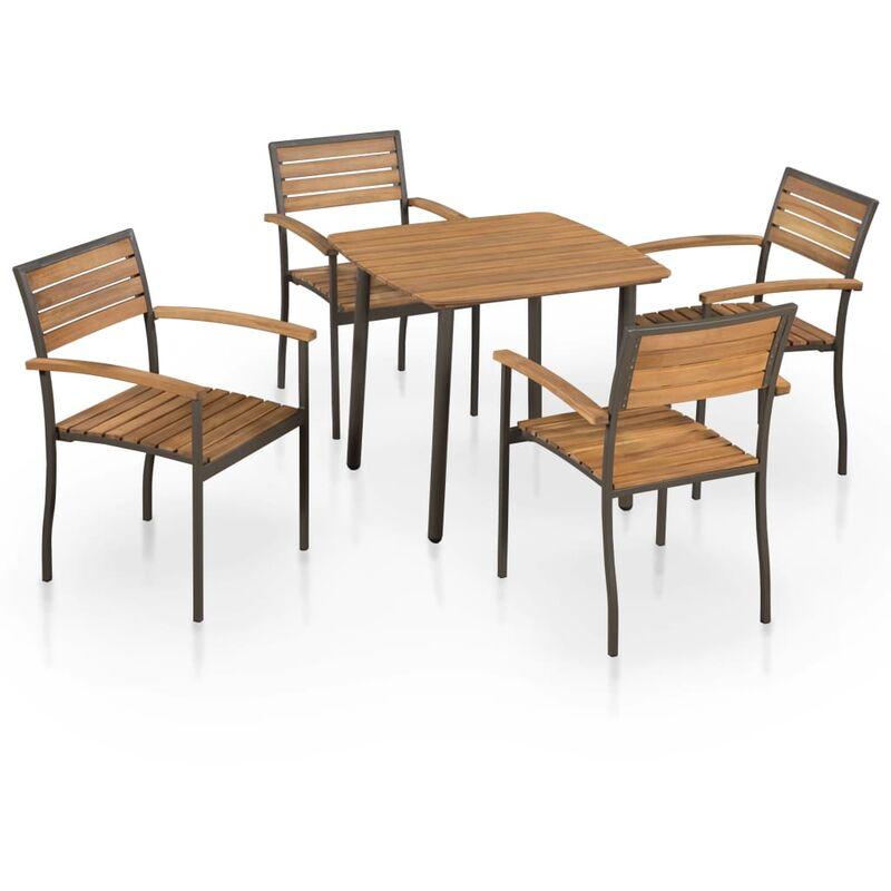 Youthup - Mobilier à dîner d'extérieur 5pcs Bois d'acacia solide et acier