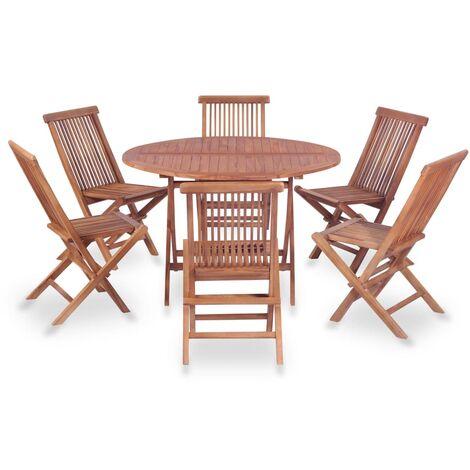 Mobilier à dîner d\'extérieur 7 pcs Bois de teck solide - 44586