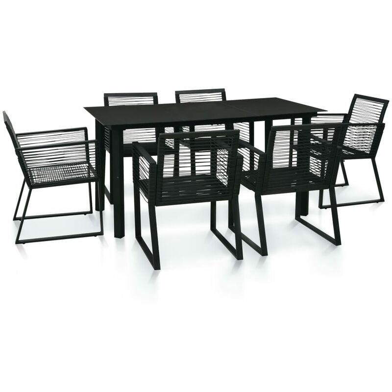 Mobilier à dîner d'extérieur 7 pcs Rotin PVC Noir