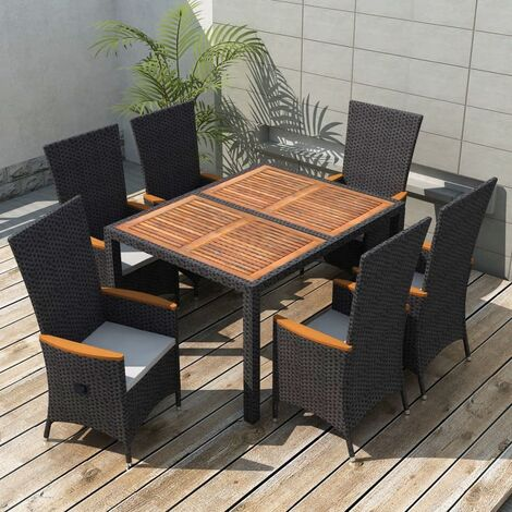 Mobilier à dîner d'extérieur 7pcs Résine tressée et acacia Noir