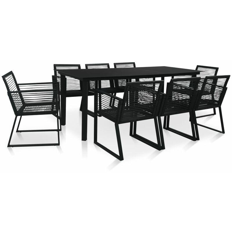 Youthup - Mobilier à dîner d'extérieur 9 pcs Rotin PVC Noir