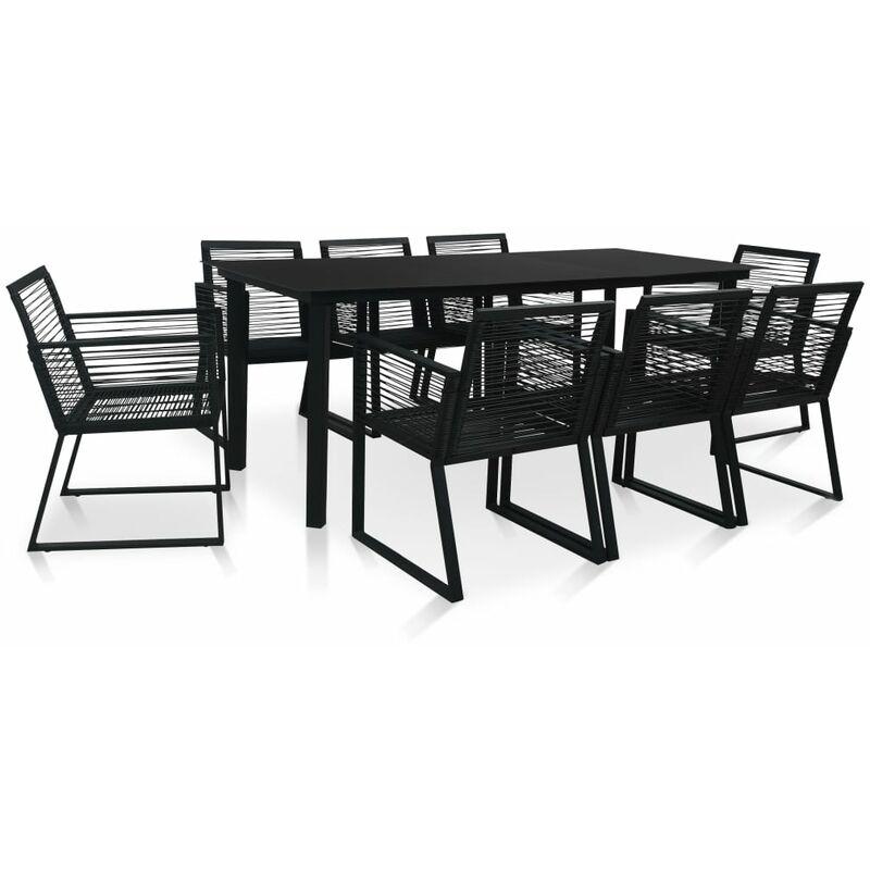 Mobilier à dîner d'extérieur 9 pcs Rotin PVC Noir