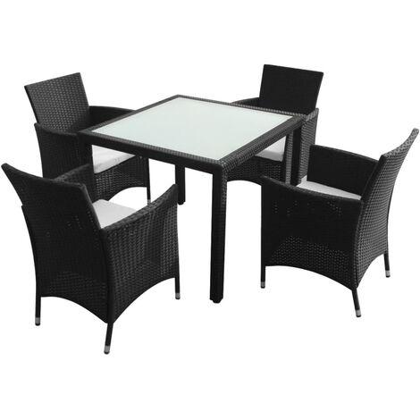 Mobilier à dîner jardin 5 pcs avec coussins Résine tressée Noir