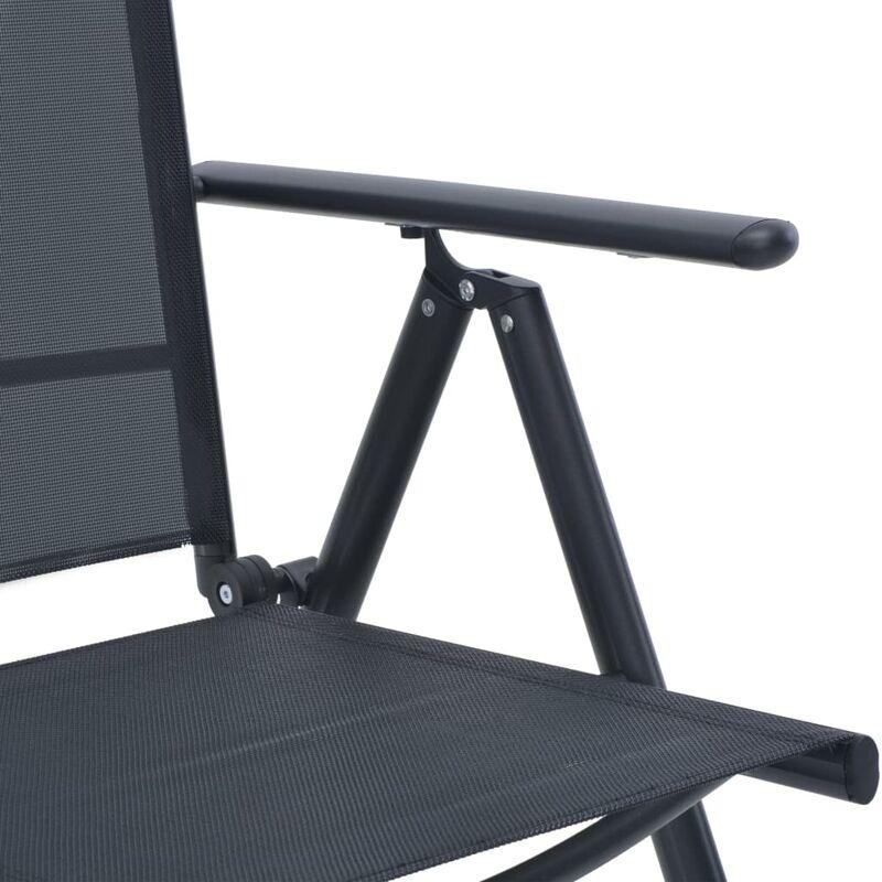 Mobilier de bistro 3 pcs Aluminium et textilène Noir