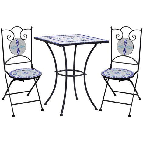 Mobilier de bistro 3 pcs mosaïque Carreau céramique Bleu Blanc