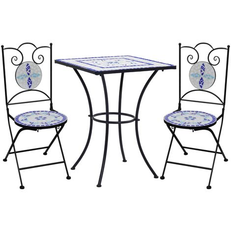 Mobilier de bistro 3 pcs mosaique Carreau ceramique Bleu Blanc