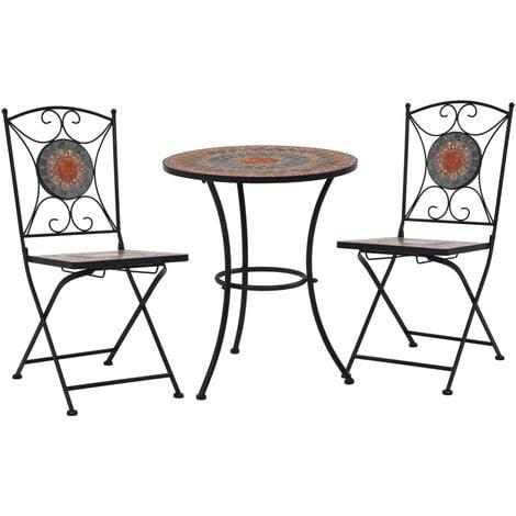 Mobilier de bistro 3 pcs mosaïque Carreau céramique Orange/Gris