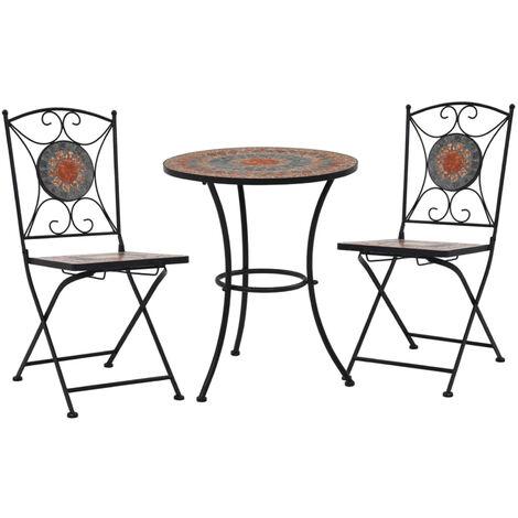 Mobilier de bistro 3 pcs mosaique Carreau ceramique Orange/Gris
