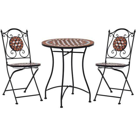 Mobilier de bistro 3 pcs mosaïque Carreau céramique Terre cuite