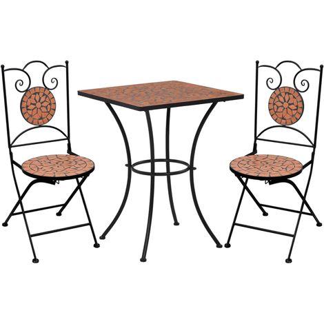 Mobilier de bistro 3 pcs mosaique Carreau ceramique Terre cuite