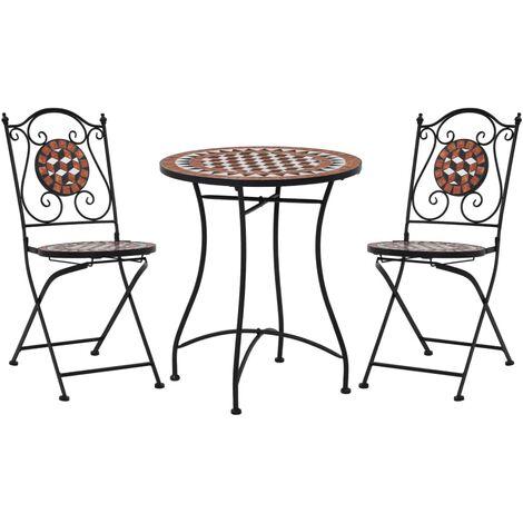 Mobilier de bistro 3 pcs mosaïque Carreau céramique Terre cuite3225-A