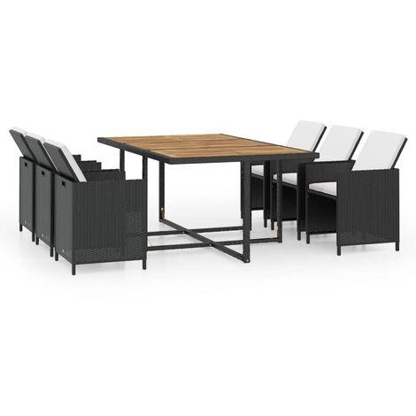 Mobilier de jardin 11 pcs avec coussins Résine tressée Noir - 42550
