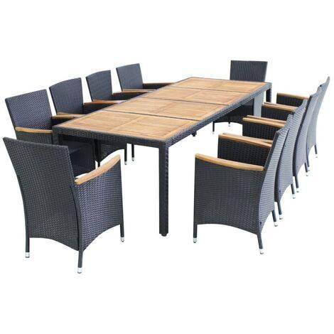 Mobilier de jardin 11 pcs avec coussins Résine tressée Noir ...
