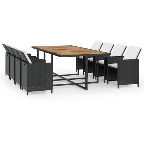 Mobilier de jardin 13 pcs avec coussins Résine tressée Noir ...
