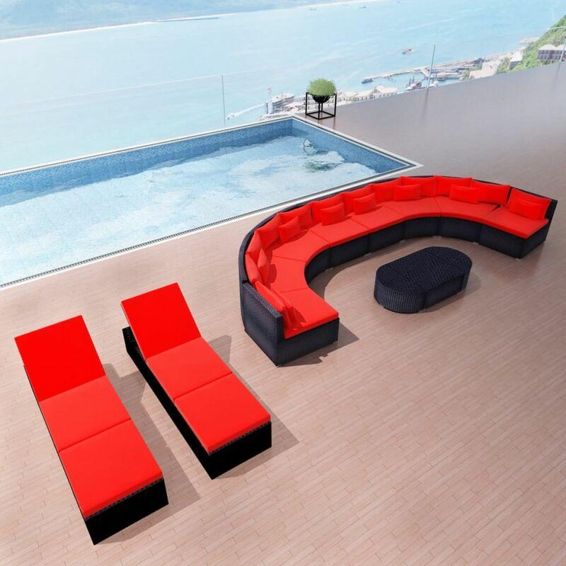 Asupermall - Mobilier de jardin 13 pcs avec coussins Resine tressee Rouge