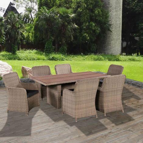 Mobilier de jardin 13 pcs bois d 39 acacia et r sine tress e Mobilier de jardin en resine tressee