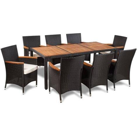 Mobilier de jardin 17 pcs Résine tressée Dessus de table Acacia - 42912