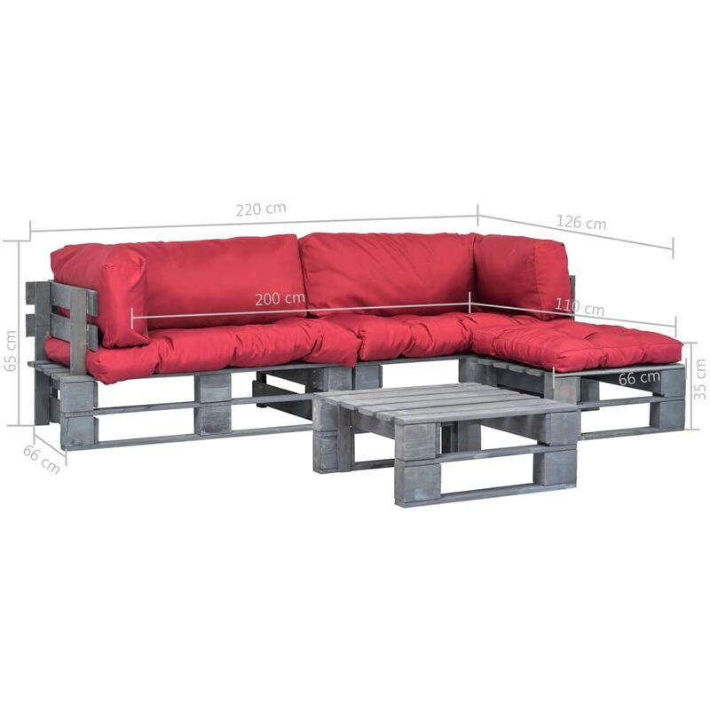 Mobilier de jardin 4 pcs palettes avec coussins rouges Bois FSC
