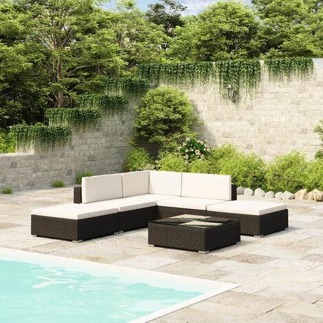 Mobilier de jardin 6 pcs avec coussins Resine tressee Noir