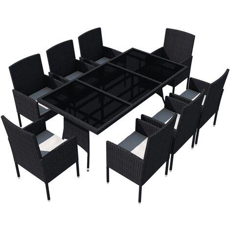 Mobilier de jardin 9 pcs avec coussins Résine tressée Noir ...