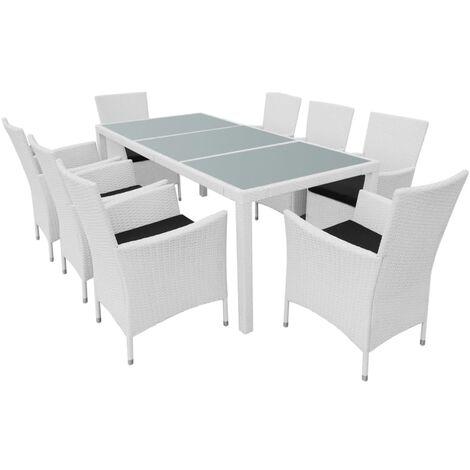 Mobilier de jardin 9 pcs Résine tressée Blanc-crème - 42500
