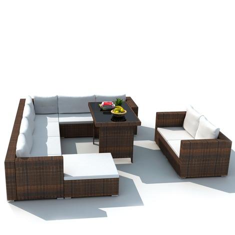 Mobilier de jardin avec 28 pièces Marron Rotin - MAJA+ MJ41877