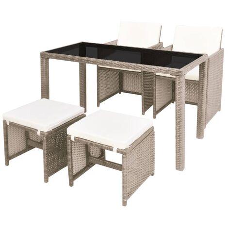 Mobilier de jardin avec coussins 5 pcs Résine tressée Beige - 42555