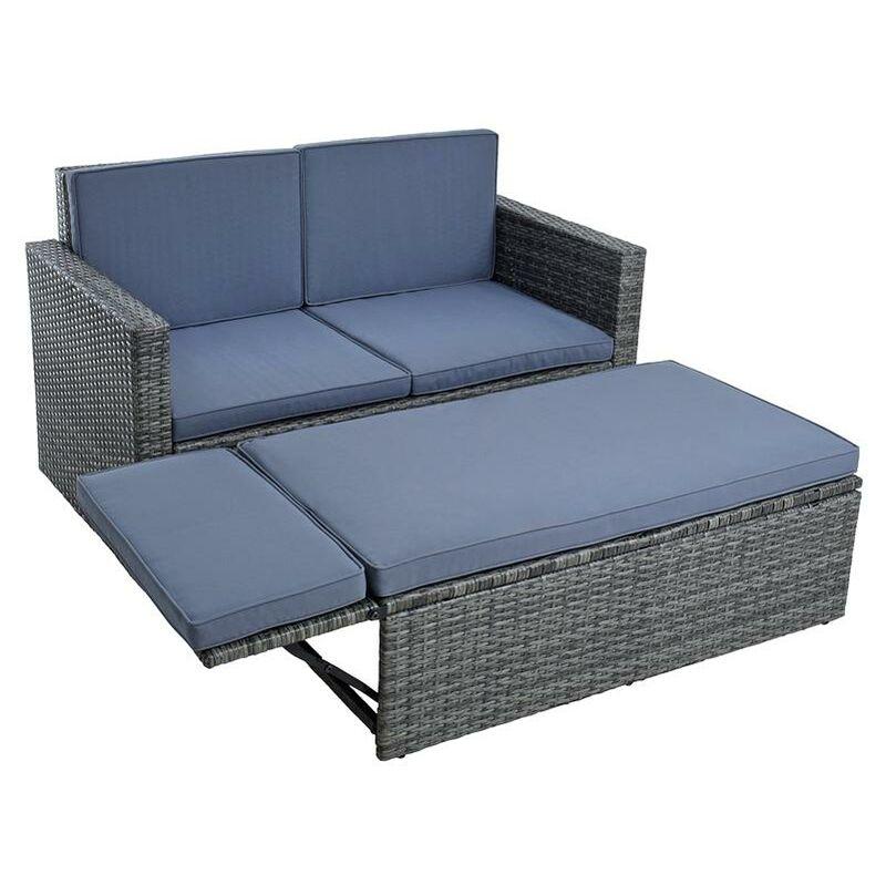 Set de meubles de jardin en polyrotin Ensemble d'assise en rotin grisa anthracit