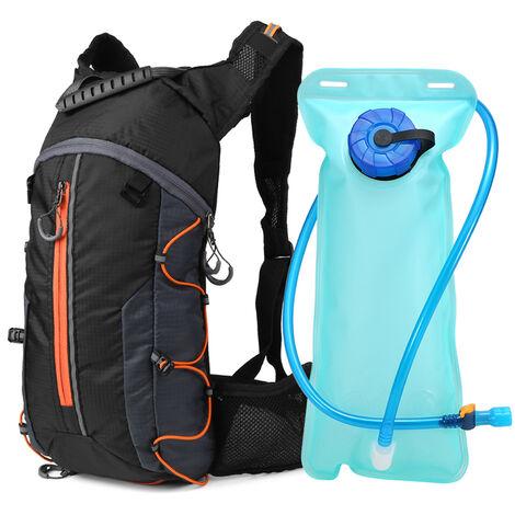 Mochila de ciclismo plegable, paquete de hidratacion, con vejiga de agua de 2 litros,naranja
