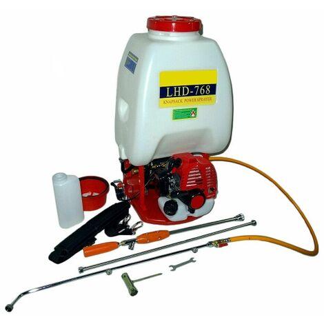 Mochila de sulfatar de Gasolina Motor de 26cc 26 litros 11 kg Caudal de 7 l/MN Sulfatadora pulverizadora huerto jardín 3 lanzas
