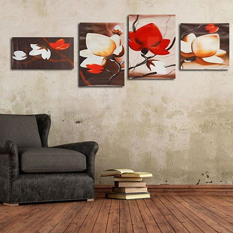 Mode 4 Pcs Fleur Abstraite Mur Art Peinture à L'huile Toile Photo Papier Peint Autocollant Salon Décor Chambre Accessoires LAVENTE