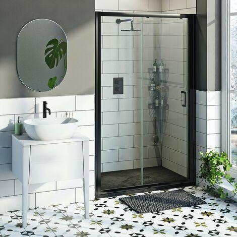 Mode 6mm black framed shower door bundle with black slate effect shower tray 1200 x 800