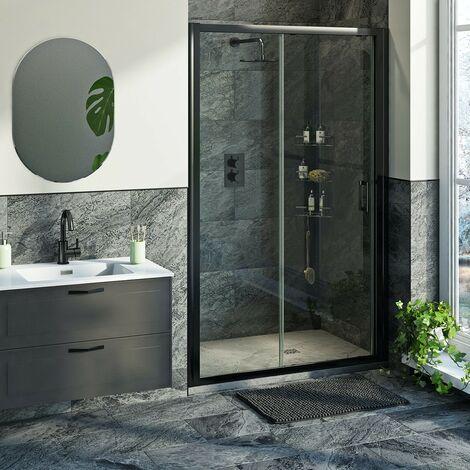 Mode 6mm black framed shower door bundle with grey slate effect shower tray 1200 x 800